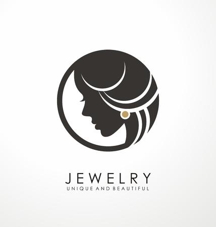 Conception de symbole de logo de bijoux avec la belle femme