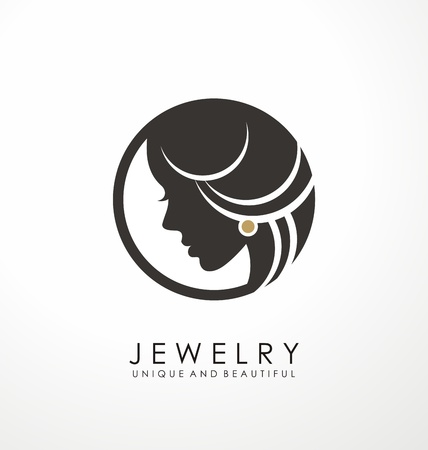 Design del simbolo del logo dei gioielli con una bella donna