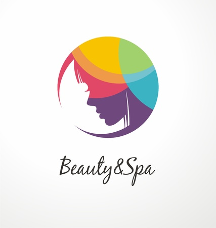 Beauty and spa colorful logo design template