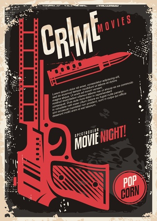 Crime movies spectacular movie night retro poster design