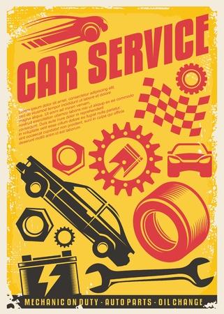 Car service vintage poster design