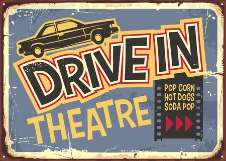 Drive in theater vintage sign design. Open air cinema retro poster with funky typography and car graphic
