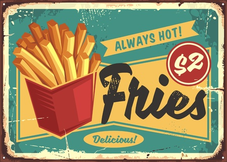 French fries in red box vintage fast food sign