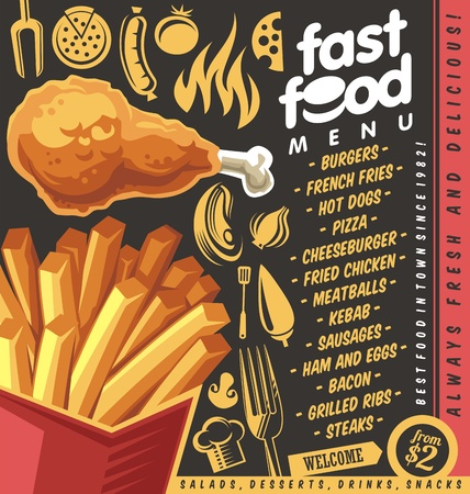Fast food restaurant menu design with french fries and fried chicken