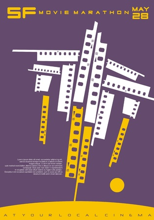 Conceptual poster design for science fiction movies festival. Stock Illustratie