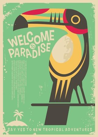 Bienvenido al diseño de cartel retro paraíso con colorido pájaro tucán. Concepto de volante de viajes del mundo de destinos tropicales.