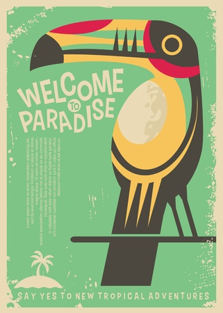 Welcome to paradise retro poster design with colorful toucan bird. Tropical destinations world travel flyer concept.