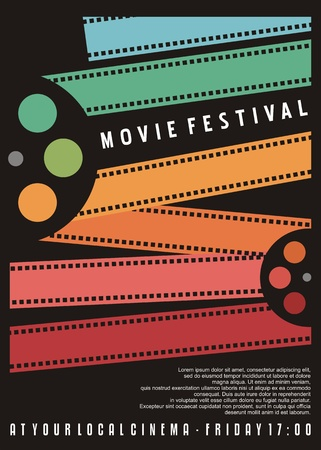 Disegno del manifesto del festival del cinema. Volantino del cinema con strisce di pellicola colorate. Immagine vettoriale.