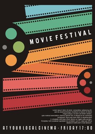 Projekt plakatu festiwalu filmowego. Ulotka kina z kolorowymi paskami filmowymi. Grafika wektorowa.
