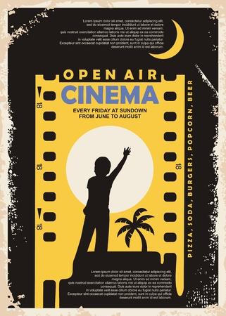 Conception de vecteur d'affiche vintage de cinéma en plein air Vecteurs