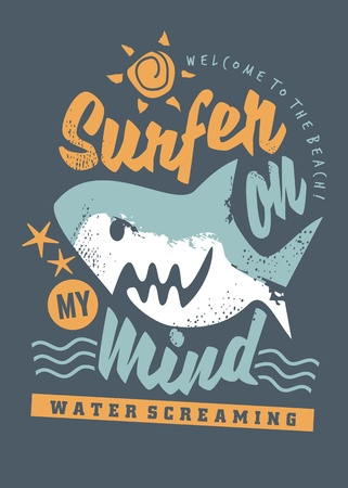 Surfing tee shirt graphic with cartoon shark and creative message.