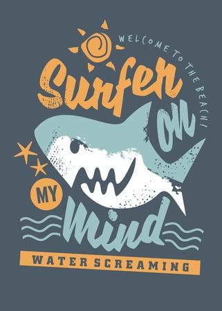 Surfende T-Shirt-Grafik mit Cartoon-Hai und kreativer Botschaft. Vektorgrafik
