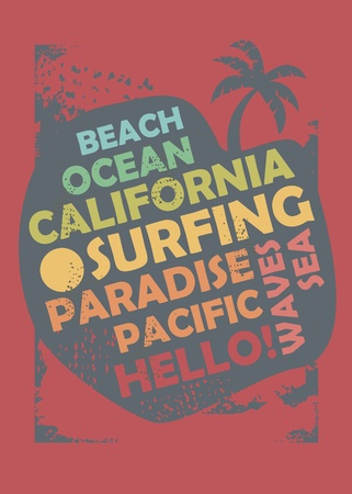California surfing t shirt design layout. Beach, ocean, and summer vacation concept with typography graphic