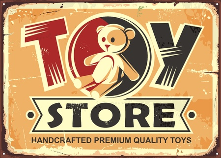 Toy store vintage metal sign with teddy bear and creative typography. Ilustração