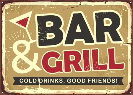 Bar and grill retro tin sign design Ilustração