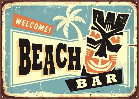Pubblicità del bar sulla spiaggia con maschera tiki delle Hawaii e palma. Retro segno commerciale per il caffè della festa estiva.