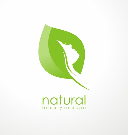 Natural beauty logo design idea with green leaf shape and girl silhouette in negative space. Beauty, spa and fashion symbol.