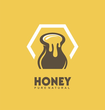 Pure natural honey vector logo design idea