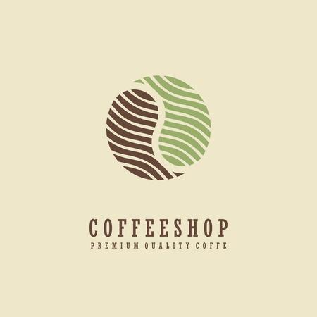 Coffee shop logo design idea. Coffee bean symbol.