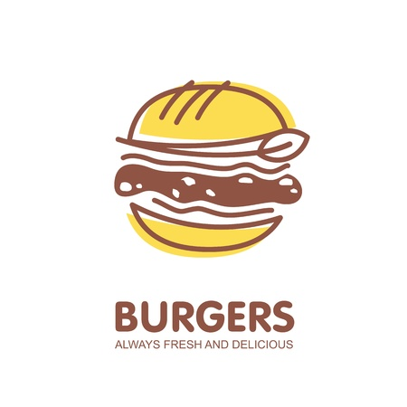 Burger logo design. Fast food restaurant symbol Çizim