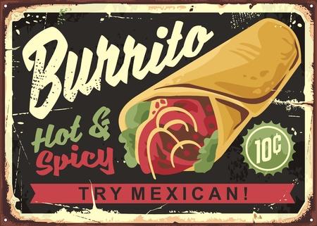 Burrito vintage restaurant sign. Mexican food retro advertising. Vector graphic illustration.