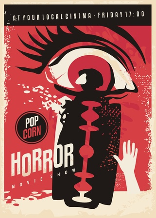 Horror movie poster design with scary eye and bloody razor blade.