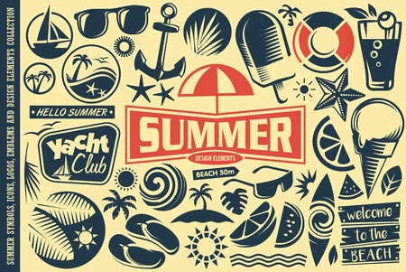Summer design elements collection. Vector tropical icons, emblems, symbols set.