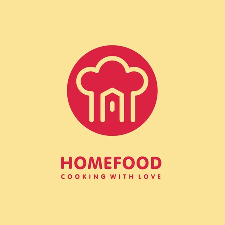Home cooking food logo design with chef hat and house shape in red circle. Homemade food symbol concept. Illustration