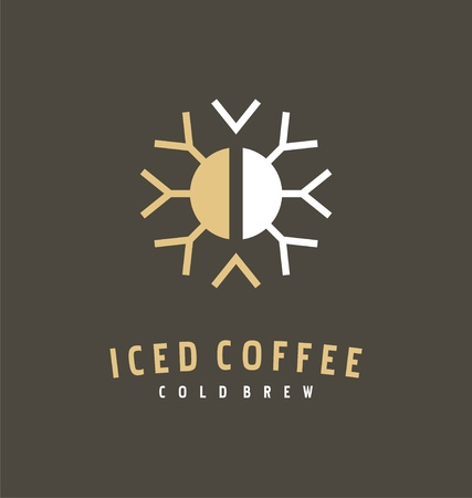 Coffee bean and snowflake logo design idea for iced coffee. Icon or symbol template for cold brewed drink.  イラスト・ベクター素材