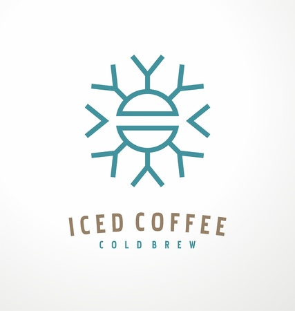 Iced coffee logo design template with coffee bean and snowflake shape. Simple clean design  made from geometrical elements. Cold brew drink symbol vector illustration.