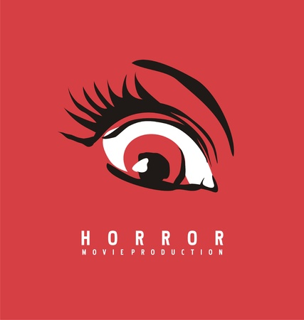 Horror movie production business logo design concept. Eye symbol drawing on red background.