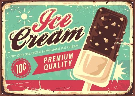 Ice cream vintage tin sign. Retro promotional vector poster for sweet chocolate icecream. Stock Illustratie