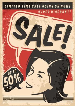 Cartel de estilo cómico de venta vintage en textura de papel viejo. Publicidad comercial promocional retro con retrato de mujer.