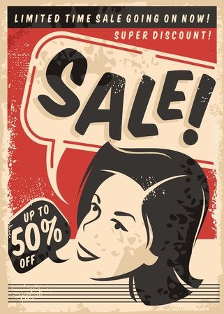 Vintage sale comic style poster on old paper texture. Retro promotional shopping advertise with woman portrait.