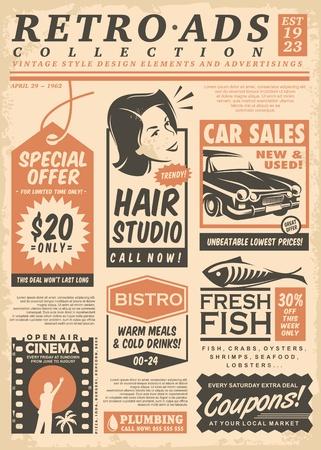 Retro newspaper ads collection on old paper texture. Vector illustration. Illusztráció