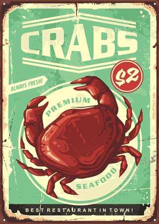 Crabs vintage tin sign. Seafood restaurant retro poster design Illustration