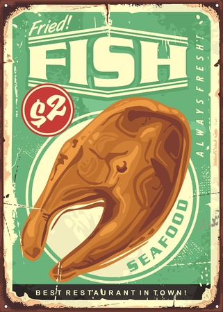 Fried fish steak vintage sign for seafood restaurant. Food vector illustration. Иллюстрация