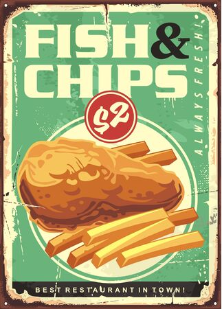 Fish and chips retro ad tin sign design.