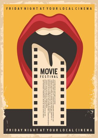 Movie festival poster design template with open mouth and film strip
