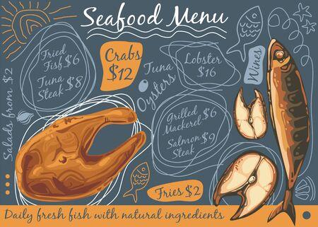 Seafood restaurant menu design concept Standard-Bild - 133410315