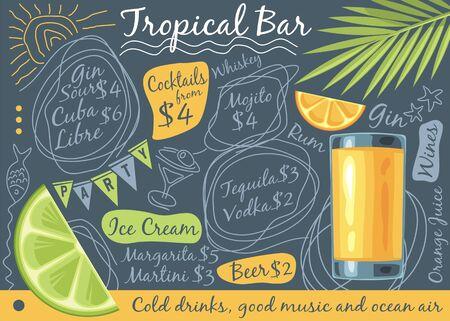Tropical bar menu design with glass of orange juice, palm tree leaf and tropical fruits Illustration