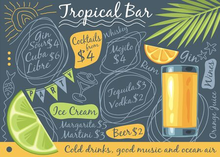 Tropical bar menu design with glass of orange juice, palm tree leaf and tropical fruits  イラスト・ベクター素材