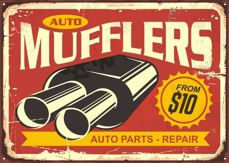Auto mufflers retro tin sign design. Auto parts and car repair vintage poster. Exhaust pipe systems and service. Ilustrace