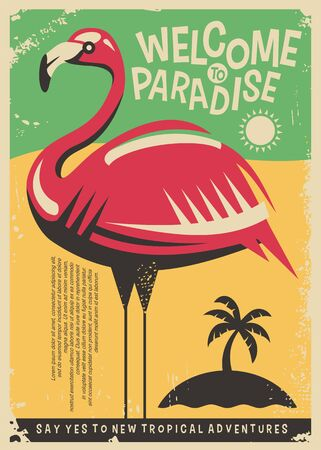 Pink flamingo retro poster design for tropical travel destinations.