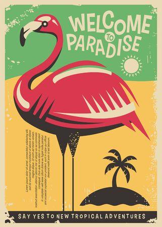 Pink flamingo retro poster design for tropical travel destinations.