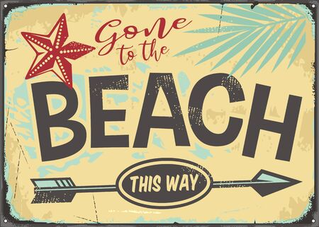 Gone to the beach retro vector sign illustration. 向量圖像