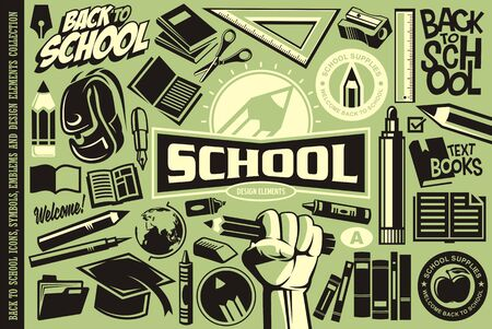 Back to school set of icons, logos, symbols, emblems and design elements. Education vector collection. Pencils and books.