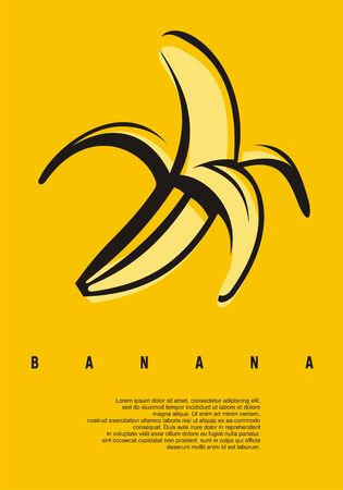 Banana minimal simple flat design concept. Artistic poster for one of the most popular tropical fruits. Banco de Imagens - 131909530