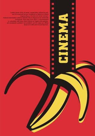 Open air cinema artistic concept for movie festival with film strip and banana. Pop art style flyer design.