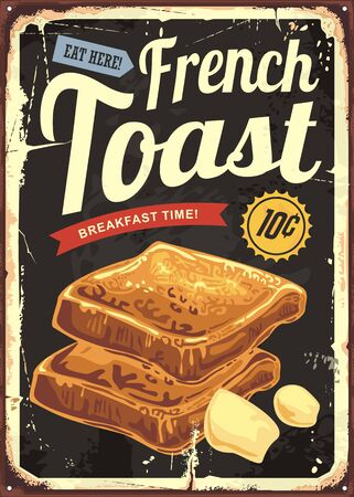 French toast restaurant sign . Retro vector poster for cafe bar or diner.